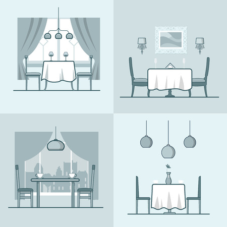 condo: Restaurant cafe condo accommodation dining room cosy modern interior indoor set. Linear stroke outline flat style vector icons. Monochrome table stool chair wine coffee diner  icon collection.