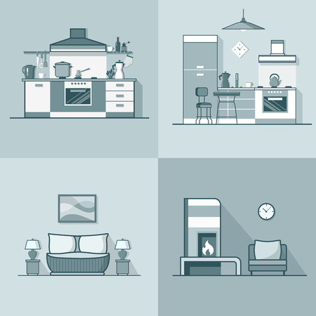 condo: Condo accommodation kitchen bedroom living room interior indoor set. Linear stroke outline flat style vector icons. Monochrome icon collection.