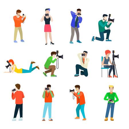 El fotógrafo camarógrafo establece banda plana concepto infografía vector de gente profesional icono de profesión. Grupo de jóvenes creativos recorrido al aire libre foto de estudio toma de hombre mujer. Ilustración de vector