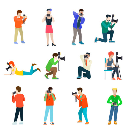 people  male: Photographer cameraman flat web infographic concept vector professional people profession icon set. Group creative young male female making photo studio outdoor travel. Illustration