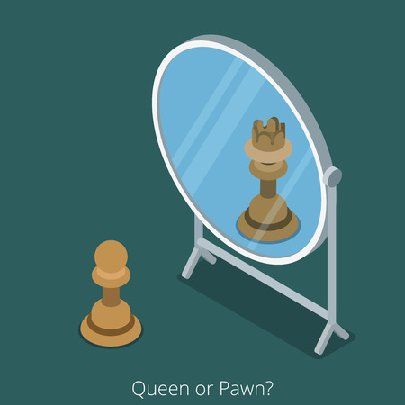 look in mirror: Queen or Pawn concept. Pawn chess figure look into mirror see queen. Flat 3d isometry isometric style web site app icon set concept vector illustration. Creative people collection.