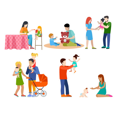 Family nursing babysitting young people parents parenting couple flat web infographic concept vector icon set. Playground babysitter mother father. Creative people collection.