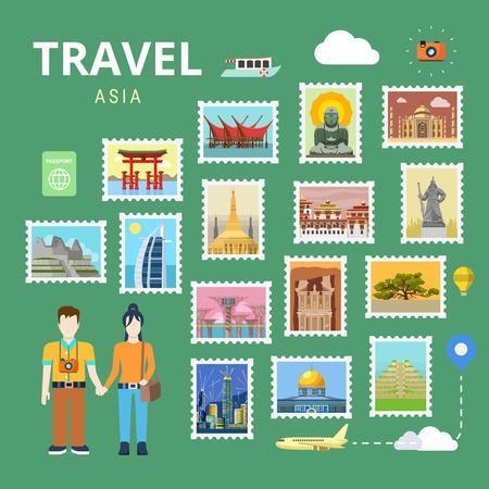アジア日本タイ ・ インド ・中国を旅行します。画像ギャラリー ベクトル テンプレート フラット スタイル。観光観光ポイ画期的な世界の有名な場