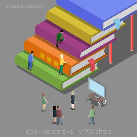 auditory: Book readers and TV watchers auditory concept. Flat 3d isometry isometric style web site app icon set concept vector illustration. Creative people collection. Illustration