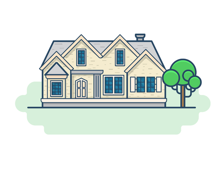 country house style: Family country house architecture building set. Linear stroke outline flat style vector icons. Color linear icon collection. Illustration