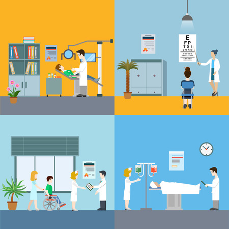 patients: Medicine infographic elements with medical staff and patients treatment and examination flat concept vector illustration on blue and yellow background Hospital professionals.