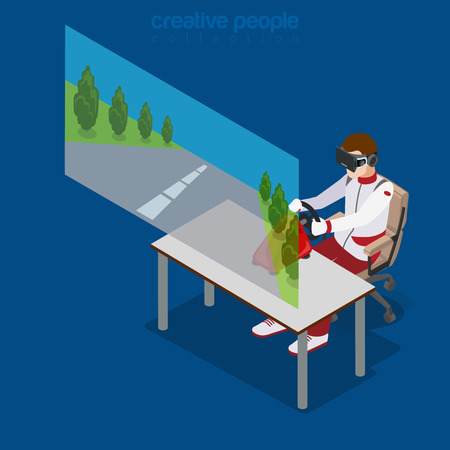sitting on chair: Virtual Reality VR Glass Gaming road race racing concept web vector flat isometric style illustration. New technology collection. Male wearing glasses sitting chair watching 3d cinema.