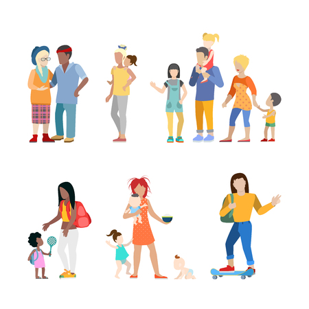 babysitter: Active family urban young people parents parenting nursing babysitting babysitter couple flat web infographic concept vector icon set. Creative people collection.