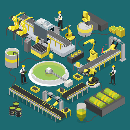 Chemical nuclear plant production conveyor workshop. Flat 3d isometric heavy robotic industry machinery icon set concept web vector illustration. Manipulator robot robotized creative people collection
