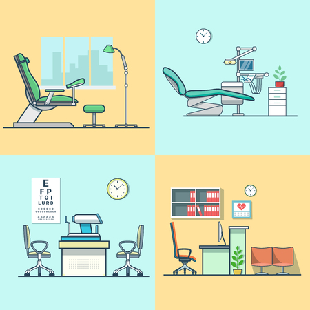 gynecological: Gynecological gynecology dentist oculist eye doctor office hospital medicine woman healthcare room interior indoor set. Linear multicolor stroke outline flat style vector icons. Color icon collection. Illustration