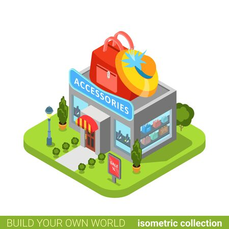 metaphoric: Accessories clothes clothing fashion boutique shop bag hat shape building realty real estate concept. Flat 3d isometry isometric style web app icon vector illustration. Build your own world collection