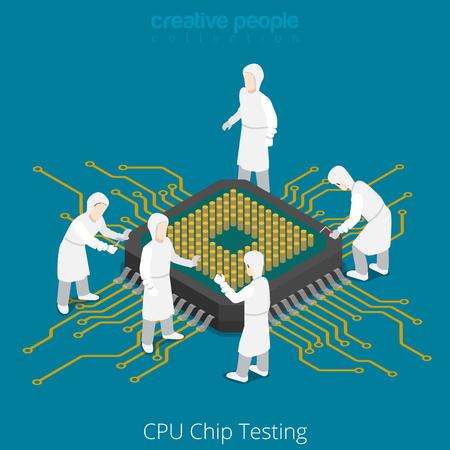 chip della CPU servizio di test presa di riparazione. Serviceman componente del computer controllo saldatura. Piatto 3d isometria isometrico stile sito web app set di icone concetto illustrazione vettoriale. persone collezione creativa. Vettoriali