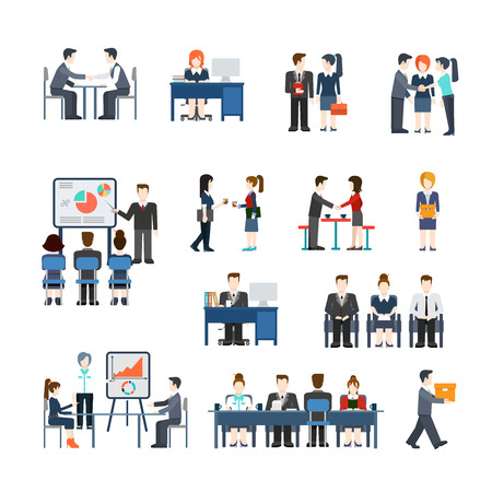 Office life business situations vector icon set. Flat style businessman working people handshake contract presentation meeting teamwork report waiting concept. lunch manager accountant secretary, colleagues, whiteboard
