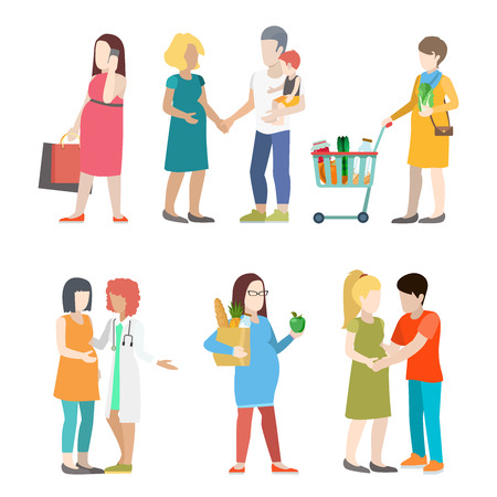 unrecognizable person: Family pregnant casual urban young people parents parenting couple flat web infographic concept vector icon set. Group creative young male female city pregnancy mother father nurse doctor prenatal.