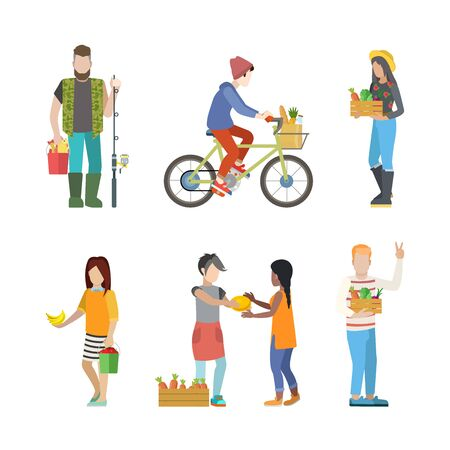 greengrocery: Outdoor farm countryside activity young people flat web infographic concept vector icon set. Fisherman greengrocery cycling farm market product seller customer buyer. Creative people collection.