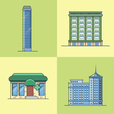 guests website: City town skyscraper hotel house pharmacy drug store architecture building set. Linear stroke outline flat style vector icons. Multi color icon collection.