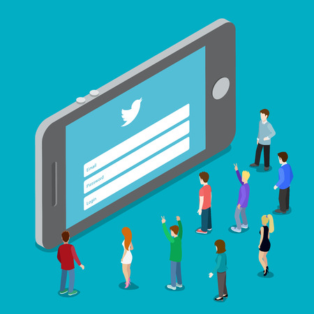 plugin: May 8, 1016: Twitter social media mobile application network login. Website authorization plugin. Flat 3d isometry isometric style web site app icon concept vector illustration.