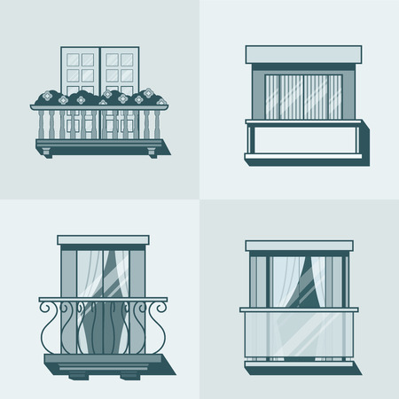 balcony: Balcony linear outline architecture building element set. Linear stroke outline flat style vector icons. Monochrome monochromatic icon collection.