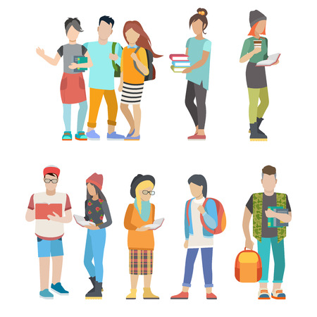 urban people: Student casual urban young people couple flat web infographic concept vector icon set. Group creative young male female city university college inhabitant.