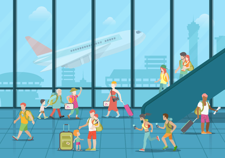 passengers: Airport waiting boarding zone interior and passengers hurry rush duty free package goods. Flat style website vector illustration. Creative people collection.