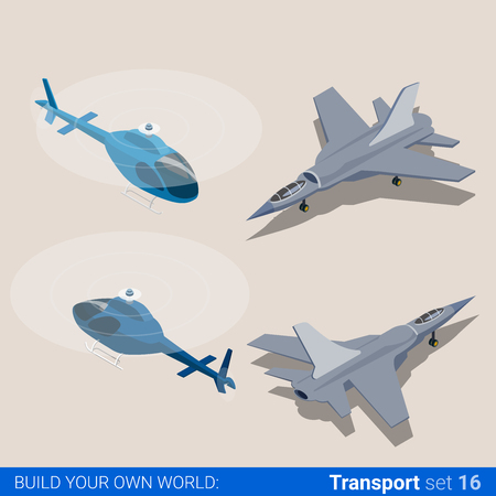 isometry: Air transport set. Helicopter and air force combat fighter plane. Flat 3d isometry isometric style web site app icon set concept vector illustration. Creative people collection.