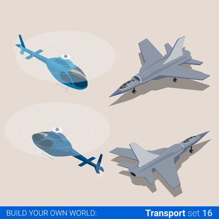 avion de chasse: Transport aérien défini. Hélicoptère et de la force aérienne de combat avion de chasse. Flat 3d isométrique de style isométrique app site web icon set notion illustration vectorielle. Creative collection de personnes.