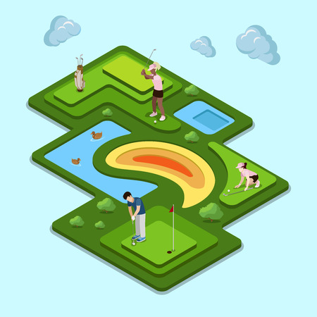 Golf course field concept. Flat 3d isometry isometric style web site app icon set concept vector illustration. Creative people collection.