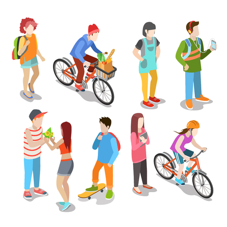 unrecognizable person: Active urban young casual street people flat 3d isometric web infographic concept vector icon set. Creative people collection. Illustration