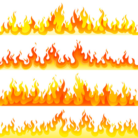 Red Burning Fire Flame set design vector template. Burn concept icon pack. Hot Inferno illustration. Bonfire creative collection.
