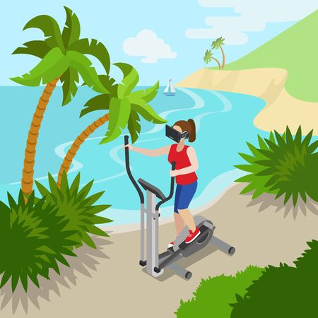 stepper: Virtual Reality VR Glass Sports Exercise on sea ocean shore concept web vector flat isometric style illustration. New technology collection. Male wearing glasses sitting chair watching 3d cinema.