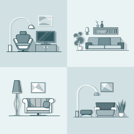 condo: Condo accommodation living room cosy modern minimalism minimal interior indoor set. Linear stroke outline flat style vector icons. Monochrome icon collection. Illustration