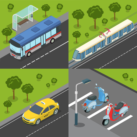 isometry: Municipal city suburb road tram rail transport. Bus train tram tramway taxi bike parking. Flat 3d isometry isometric style web site app icon set concept vector illustration.