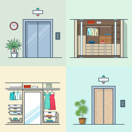 dressing room: Wardrobe dressing room interior indoor elevator entrance door hall lift corridor set. Linear multicolor stroke outline flat style vector icons. Color icon collection. Illustration