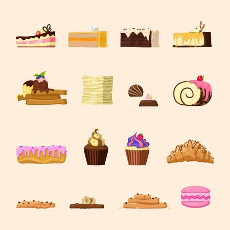 eclair: Yummy candy shop confectionery bakery product front view icon set. Cupcake croissant eclair chocolate roulette ice cream macaroon cake tart creamy almond nut. Creative sweet food collection.