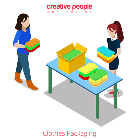 clothing shop: Clothes packaging fashion boutique shop sale shopping flat 3d isometry isometric website vector concept illustration. Creative people collection. Female packing multicolor clothing.