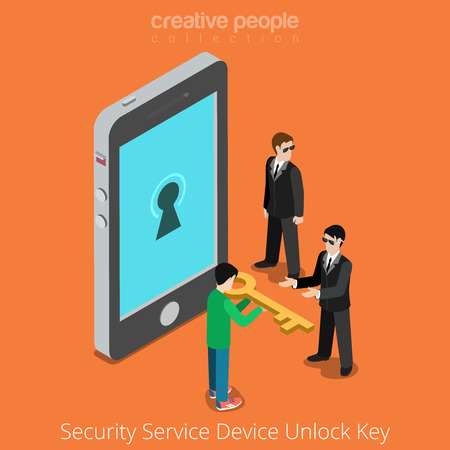 gain access: Security Service Device Unlock Key. Special agents taking universal clue to smartphone. Flat 3d isometry isometric style web site app icon set concept vector illustration. Creative people collection.