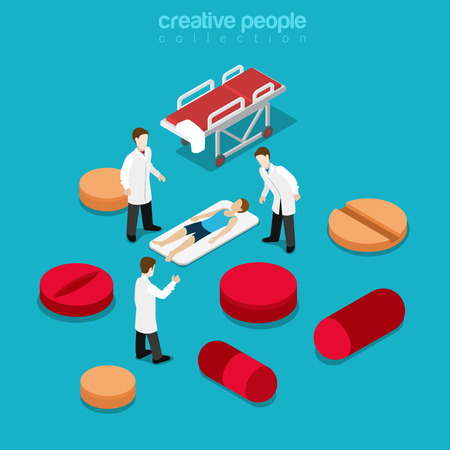 hospitalization: Healthcare hospitalization healthy lifestyle concept. Flat 3d isometric isometry health treatment web vector illustration. Patient lying stretcher doctor among pill tablet. Creative people collection.