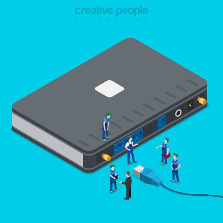 Internet service connection supply. Flat 3d isometric isometry concept. Micro people wired router connecting patch cord with www access. Creative people collection.