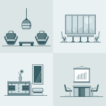night club interior: Office meeting conference room table chair armchair night dance club living room interior indoor set. Linear stroke outline flat style vector icons. Monochrome icon collection.