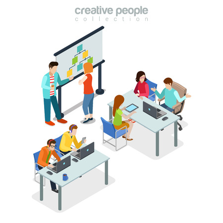 isometry: Coworking presentation meeting office interior indoor concept. Flat 3d isometry isometric style web site app icon set concept vector illustration. Creative people collection.