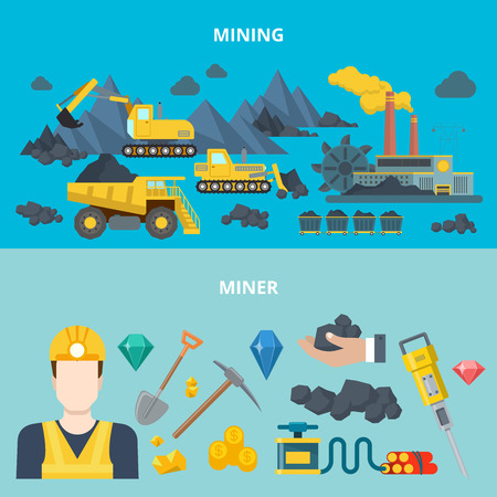 wheeled tractor: Mining industry heavy machinery automobile wheeled tracked transport miner equipment tool web site banner hero image set. Flat style modern vector illustration. Illustration