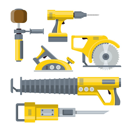 objects equipment: Industrial equipment objects constructor template mockup vector set. Tools hammer saw breaker drill screwdriver collection.