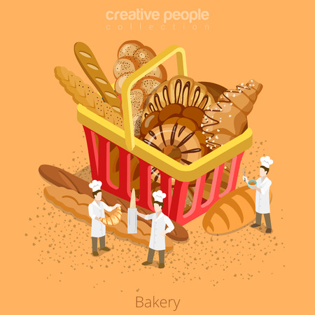 Bakery fresh basket pastry concept. Flat 3d isometry isometric style web site icon set vector illustration. Micro bakers cook huge shopping cart bread croissant baguette. Creative people collection. Vetores