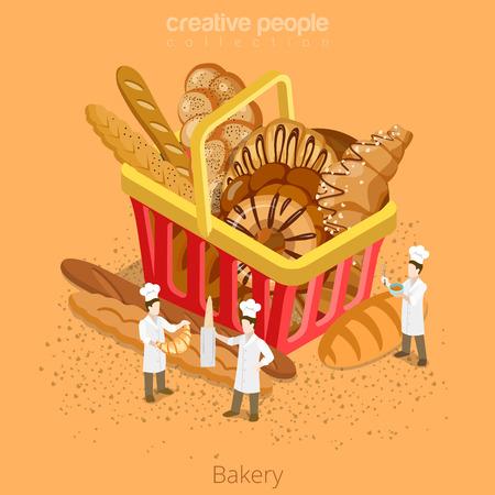flour: Panadería pastelería fresca concepto de cesta. Piso 3d isometría icono del sitio web de estilo isométrico conjunto Ilustración vectorial. panaderos micro cocinan enorme cesta de la compra pan baguette croissant. personas colección creativa.