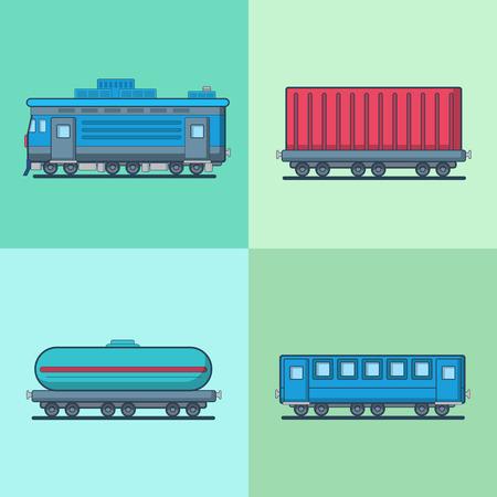 aljibe: establece Vagón de pasajeros Locomotora carro cisterna de transporte de ferrocarril. estilo plana iconos del vector lineal multicolor puntear el exterior. colección de iconos de colores. Vectores