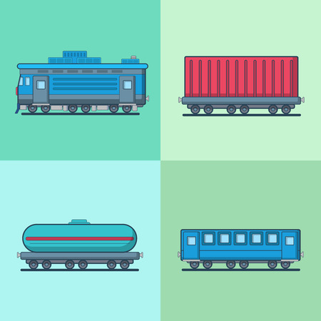 cistern: Locomotive Passenger Coach Carriage Cistern railway railroad transport set. Linear multicolor stroke outline flat style vector icons. Color icon collection. Illustration