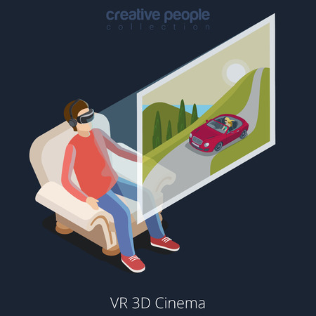 watching 3d: Virtual Reality VR Glass Cinema concept web vector flat isometric style illustration. New technology collection. Male wearing glasses sitting chair watching 3d cinema.