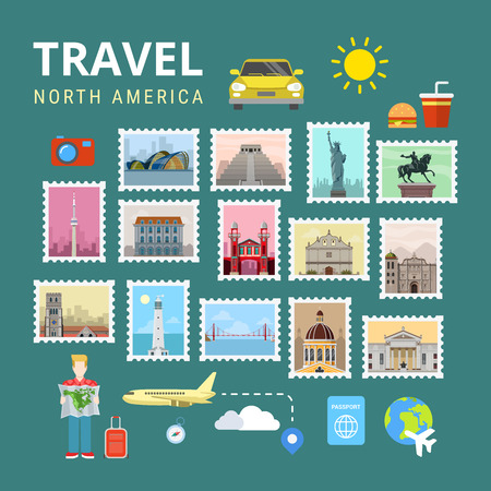 canada stamp: Travel North America USA Canada. Picture gallery vector template flat style. Tourism sightseeing POI landmark world famous places. Vacation city country collection. Illustration