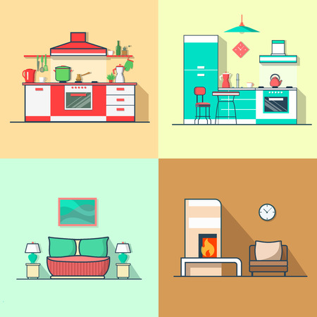 condo: Condo accommodation kitchen bedroom living room interior indoor set. Linear multicolor stroke outline flat style vector icons. Color icon collection. Illustration