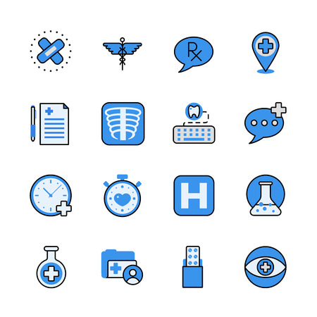 pharmaceutical industry: Pharmaceutical industry lineart flat vector icon set. Web site interface elements color line art mobile app application objects. Line-art pharmacy icons collection. Illustration